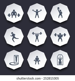 gym exercises trendy octagonal icons vector illustration, eps10, easy to edit