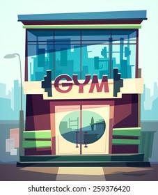 Gym facade. Vector illustration.