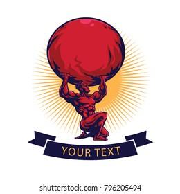 Gym, Fitness, Atlas Titan Logo Template Design Vector