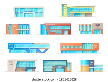 Gym or fitness center buildings, vector contemporary city architecture constructions for sports activity, recreation. Workout exercising sport club facades of modern design isolated cartoon icons set - Shutterstock ID 1931413829