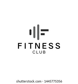 Gym and fitness club logo design template with barbell symbol.