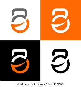 Gym and fitness club logo, kettlebell symbol, vector illustration design