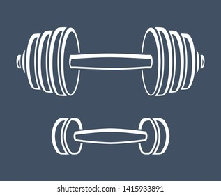 Gym and fitness dumbbell or barbell icons