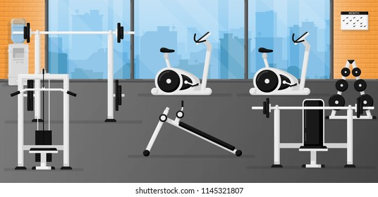 Gym fitness equipment set in the room with beautiful interior design. Black and white color. Collection of modern training apparatus. Cute cartoon design. Simple flat style vector illustration.
