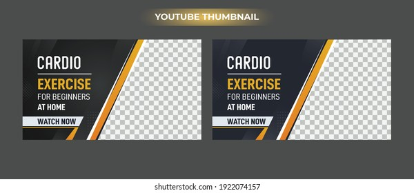 gym and Fitness, exercise youtube thumbnail and web banner template Vector design
