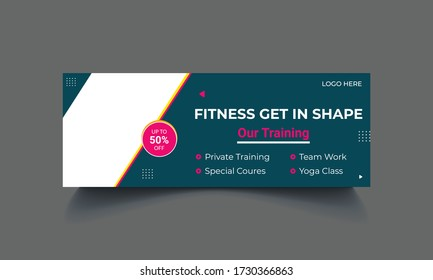Gym & Fitness Facebook Cover Templates, gym fitness Cover Photo Design for social media banner