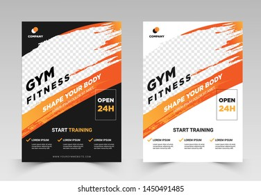 GYM / Fitness Flyer template with grunge shapes. vector