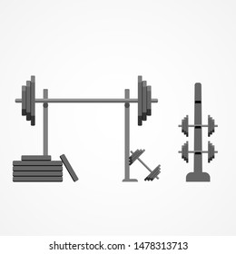 Gym and fitness illustration. Barbell on the rack. EPS 10