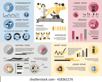 Gym fitness infographics set graphs and percentages for different themes of sports role of nutrition natural food and sport food in training