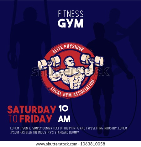 Gym Fitness Invitation Square Card Stock Vector Royalty Free