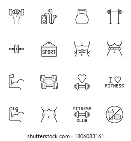 Gym and fitness line icons set, sport equipment outline vector symbol collection, linear style pictogram pack. Signs, logo illustration. Set includes icons as barbell, torso muscles, dumbbells