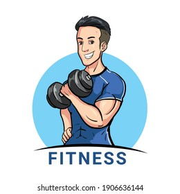 Gym fitness men using dumbbell clipart and logo vector