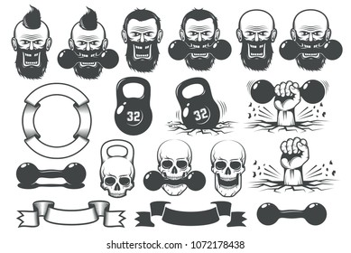 Gym fitness set of design elements for the logo. Dumbbells, weights, hands, heraldic ribbons, skulls and bearded heads.
