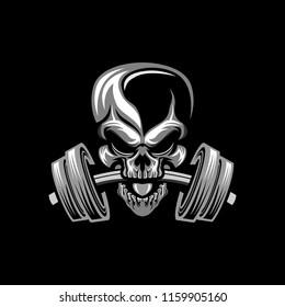 Gym fitness skull head vector illustration art