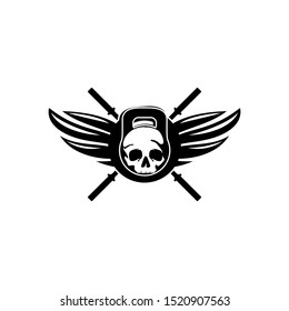 Gym and Fitness Skull Logo Template Vector