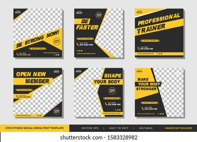 Gym Fitness social media post template square banner vector