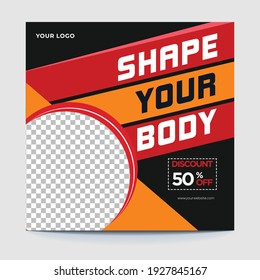 Gym and fitness social media post banner design