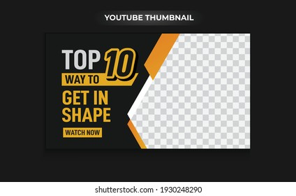 gym and fitness training, exercise youtube thumbnail, and web banner template Vector design
