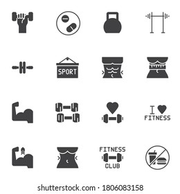 Gym and fitness vector icons set, sport equipment modern solid symbol collection, filled style pictogram pack. Signs, logo illustration. Set includes icons as barbell, torso muscles, dumbbells