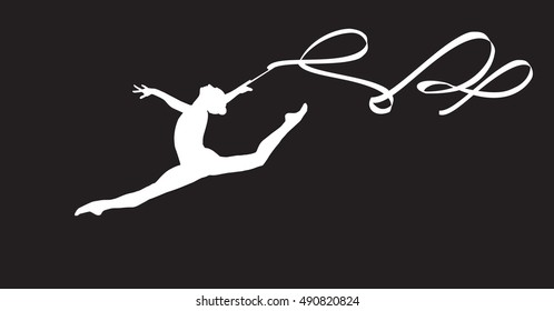 Gym. Gymnastic. Gymnast girl silhouette with ribbon jumping, doing split leap in the air, isolated on black. Gymnastic element, athletic, sport. Young gymnast woman with ribbon. Banner clip art Vector