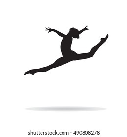Gym. Gymnastics Silhouette Young Gymnast woman and shadow. Flat Vector illustration Monochrome. Rhythmic gymnastics, trampolining, acrobatic gymnastics aerobic gymnastics International Federation 2018