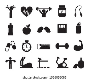 Gym icon set pack design, Healthy lifestyle fitness bodybuilding bodycare activity exercise and diet theme Vector illustration