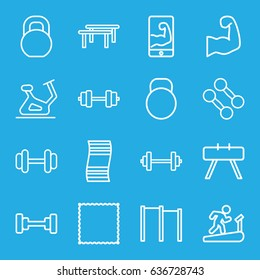 Gym icons set. set of 16 gym outline icons such as barbell, exercise bike, carpet, kettle, muscular arm  on phone, muscular arm, dumbbell, horizontal bar, fintess equipment