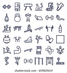 Gym icons set. set of 36 gym outline icons such as treadmill, slim, exercise bike, carpet, barbell, push up, bar   tightening, abdoninal workout, bodybuilder