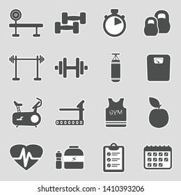 Gym Icons. Sticker Design. Vector Illustration.