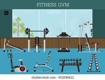 Gym interior with gym equipment, gymnasium sport fitness, athletics, healthy lifestyle,flat design Vector illustration.