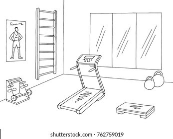 Gym interior graphic black white sketch illustration vector