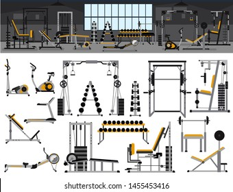 Gym interior icon set.Fitness center design in flat style with power rack,Bench Press, Pull-Down, Pec Deck, Dumbbells, Exercise Bike, Leg Curl, Hack Squat, Leg Extension,leg abduction, Smith Machines.