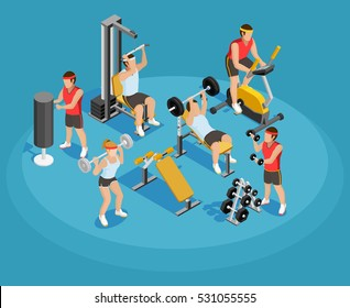 Gym isometric template with people and sports equipments in colorful style on blue background vector illustration