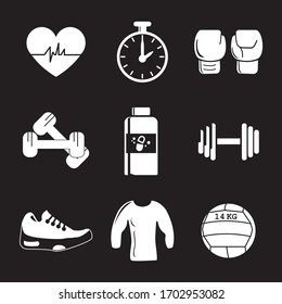 Gym items. Sports object icons. Solid icons. Black background.