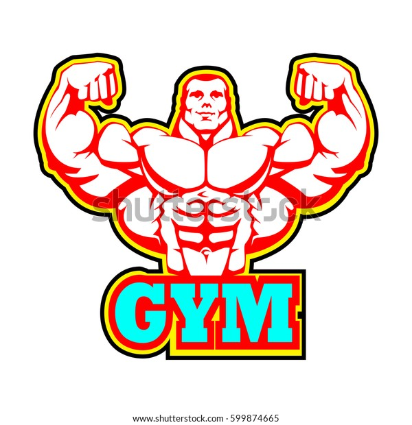 Gym Logo Design Bodybuilding Fitness Powerlifting Stock