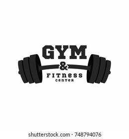 Gym logo. Fitness center logo design template. Black barbell isolated on white background. Vector