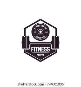 Gym logo, fitness logo, disc barbell logo