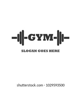 Gym logo. Fitness icon. Bodybuilding sport equipment. Vector