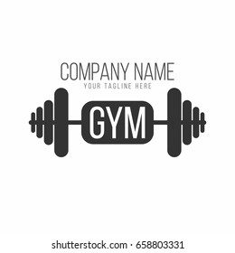 Gym logo, fitness logotype. Barbell with lettering. Vector
