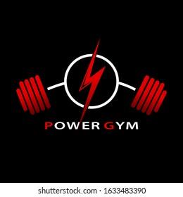 Gym Logo Power design. Fitness and Bodybuilding club logo template. Vector illustration