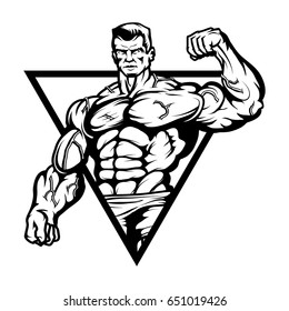 Gym logo.Bodybuilder with the muscular body.Sexy man with a beautiful body.Vector Illustration of Fitness man.Strongman with iron muscles isolated on white background.
