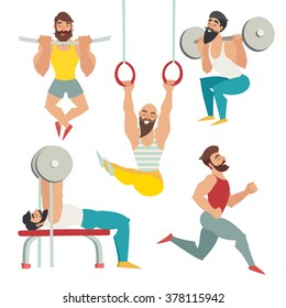 Gym muscular man/Bodybuilder with muscle, beard people set/Gym workout/Muscular bearded man/Gym class/Isolated vector on white background/Bench press, running, squats, pulling up, gymnastics rings