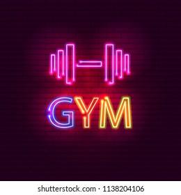 GYM neon light glowing bright singboard