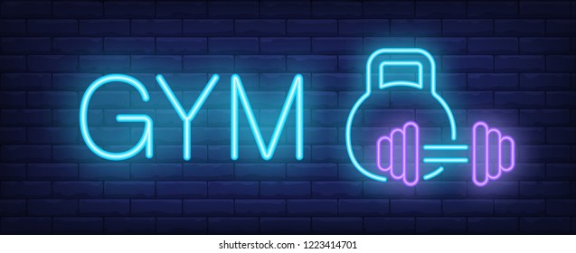 Gym neon sign. Glowing inscription with kettle bell and barbell on dark blue brick background. Vector illustration can be used for fitness clubs, sports, trainings