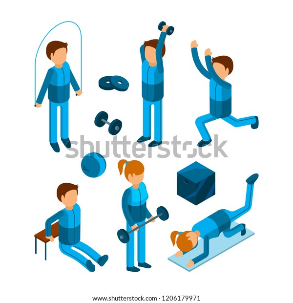 Gym People Isometric Fitness Sport Characters Stock Vector Royalty Free 1206179971