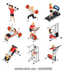 Gym and people isometric set with fitness symbols isolated vector illustration