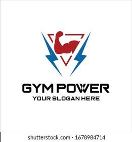 Gym power logo design idea, Fitness Logo . Sport and fitness logo Design . Gym Logo Icon Design Vector Stock