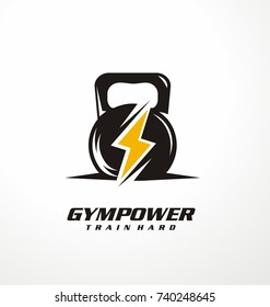 Gym power logo design idea with kettle bell and thunder symbol in negative space. Fitness and bodybuilding club logo template. Sport and recreation theme.