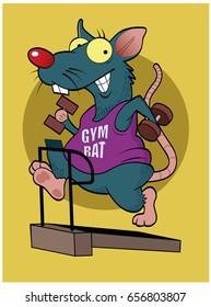 Gym Rat / A cartoon rat exercises on a treadmill.