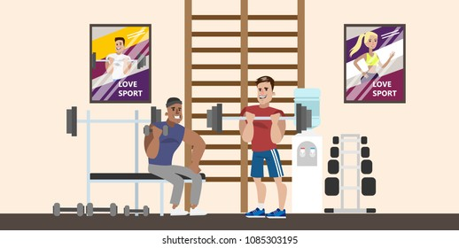 Gym rooms interior on white. People doing weight lifting.